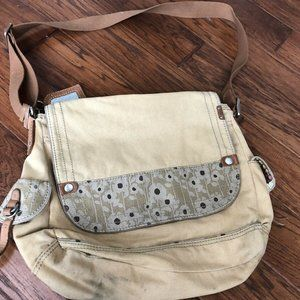 Fossil Messenger Bag with Floral - Khaki Brown